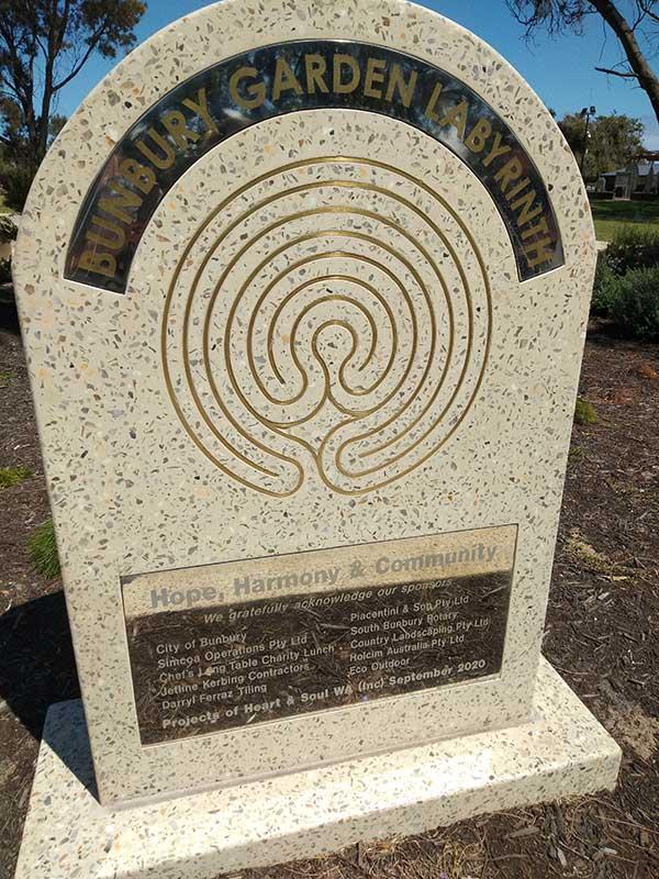 Bunbury Garden Labyrinth Acknowledgement